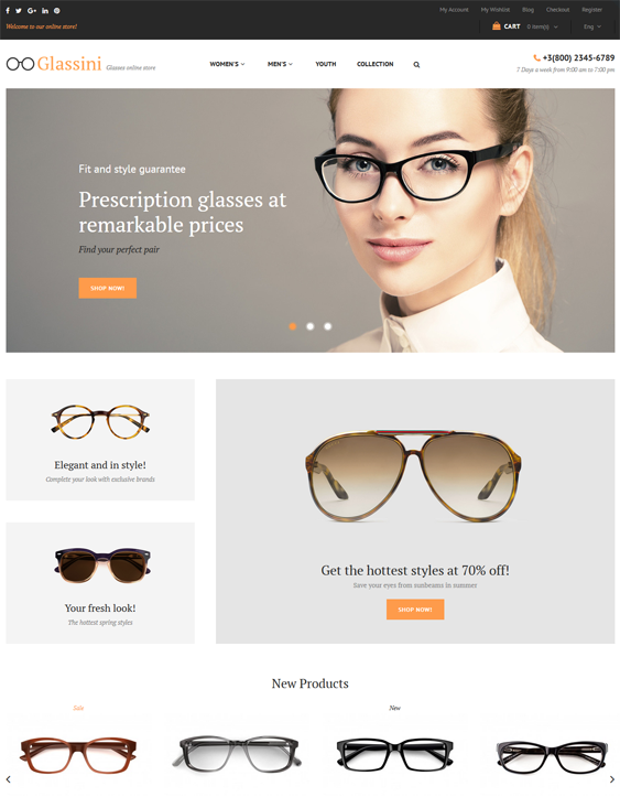 Magento Themes For Selling Sunglasses And Eyeglasses feature