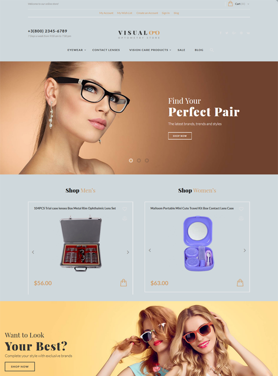 Magento Themes For Selling Sunglasses And Eyeglasses
