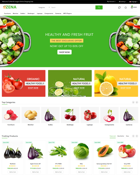 OpenCart Themes For Food And Grocery Stores