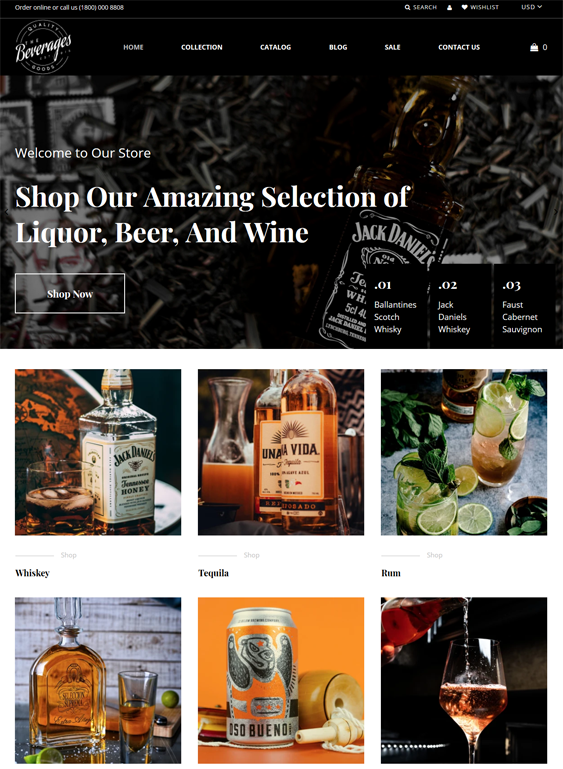 Shopify Themes For Selling Drinks