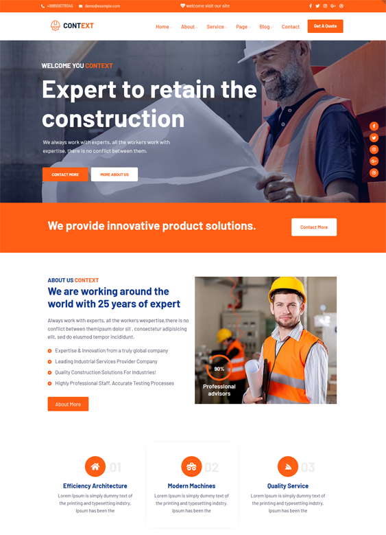WordPress Themes For Construction Companies And Building Contractors feature