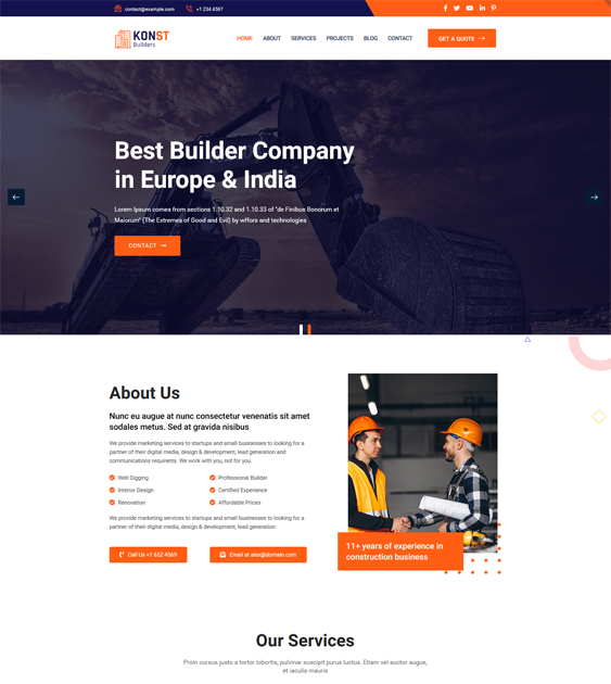WordPress Themes For Construction Companies And Building Contractors