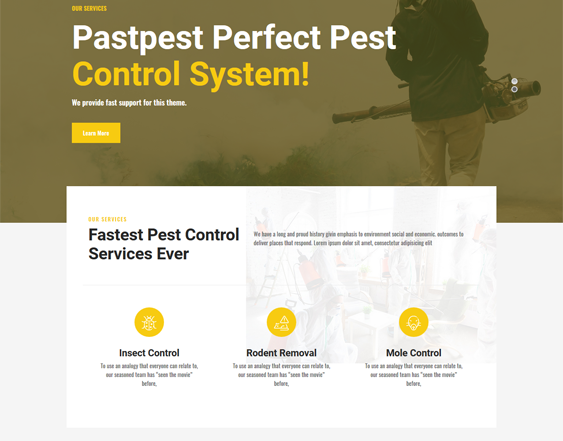 Pest Control WordPress Themes feature