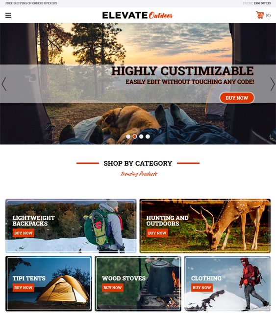 Bold BigCommerce Themes For Selling Hiking And Camping Equipment And Outdoor Goods feature