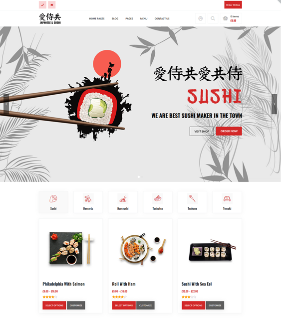 WordPress Themes For Sushi Restaurants feature