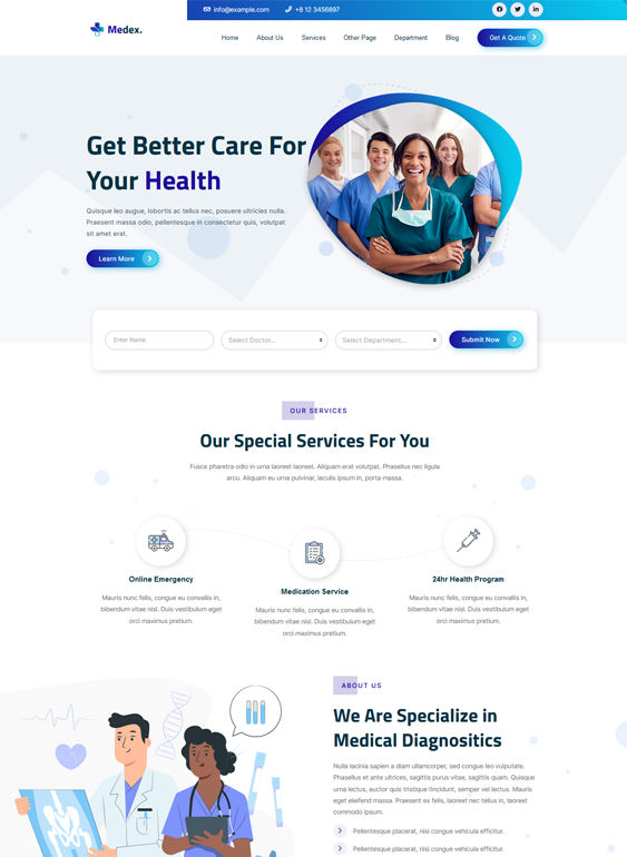 medical wordpress themes feature