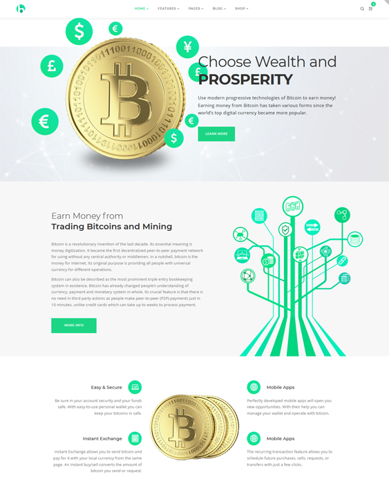 WordPress Themes For Bitcoin And Cryptocurrency Websites feature