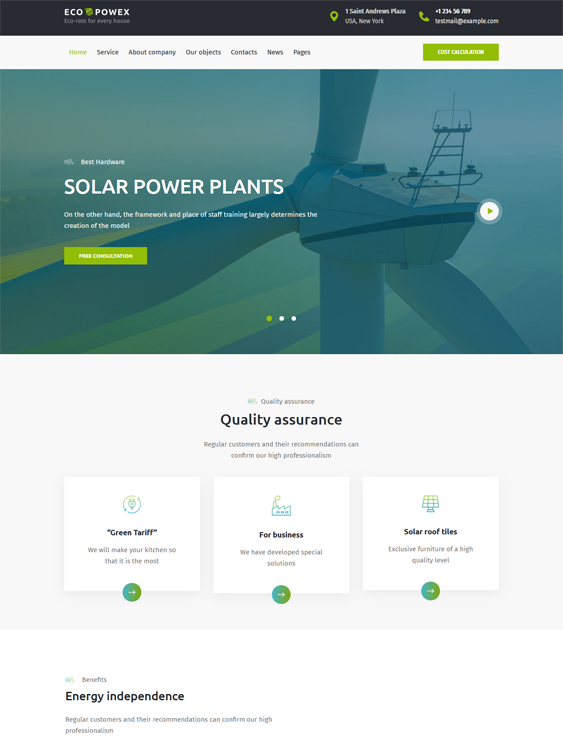 Solar, Clean, Alternative, And Renewable Energy WordPress Themes feature