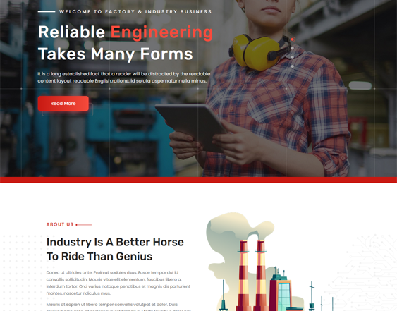 Industrial WordPress Themes feature