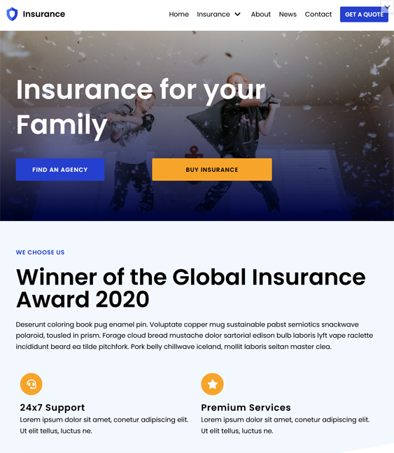 Insurance WordPress Themes feature