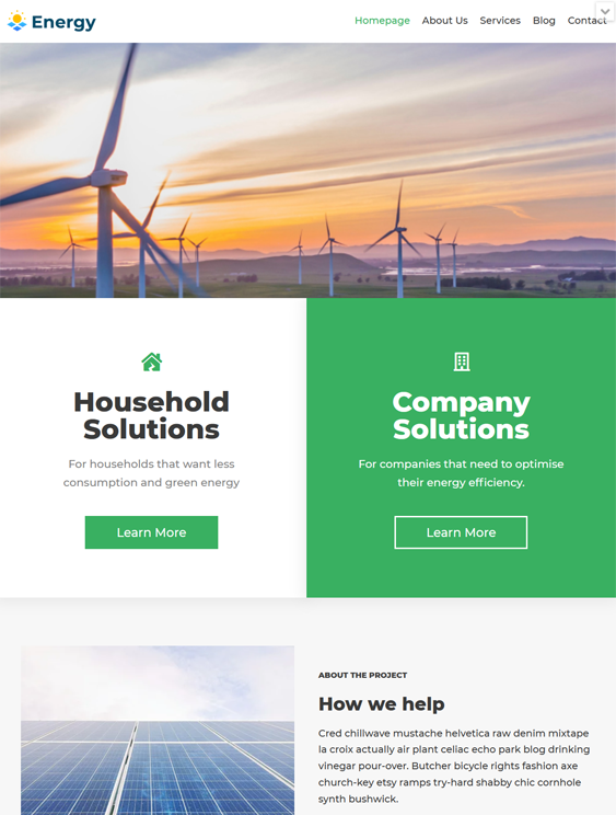 Solar, Clean, Alternative, And Renewable Energy WordPress Themes