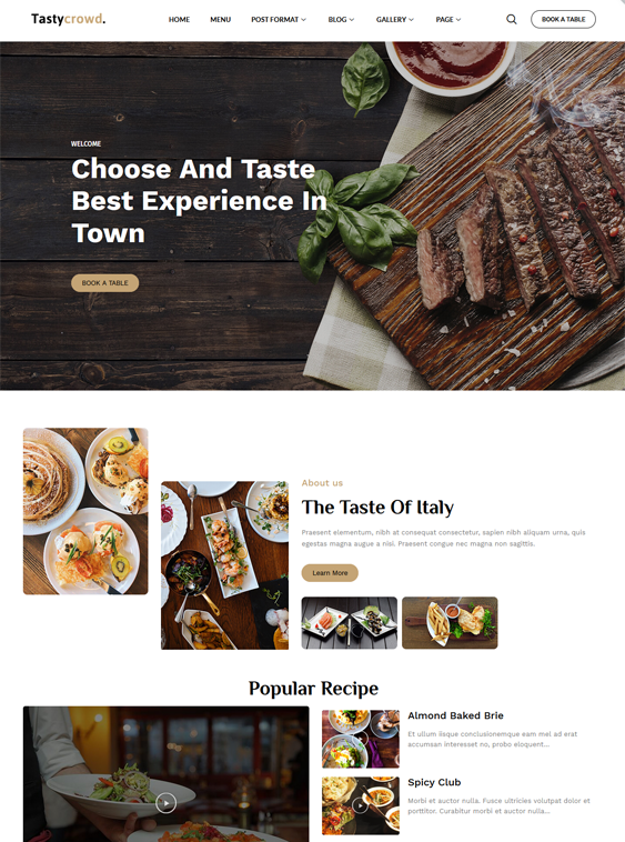 Restaurant WordPress Themes feature