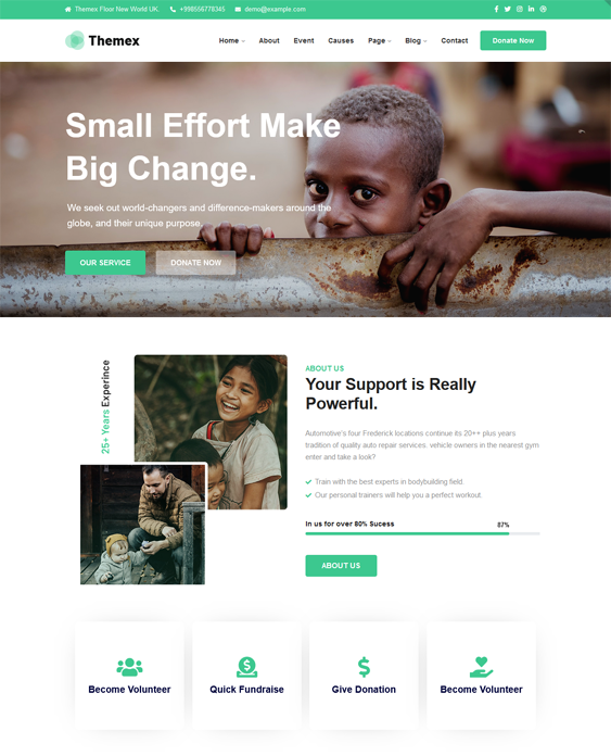 Charity And Nonprofit WordPress Themes feature