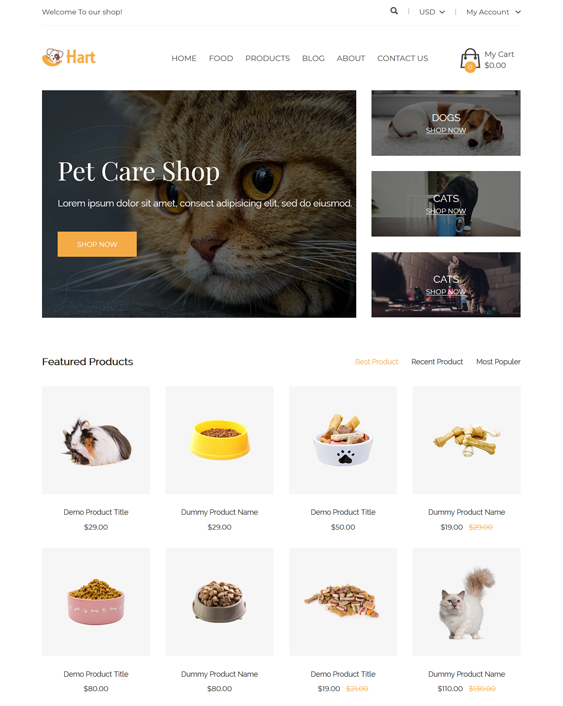 Shopify Themes For Online Pet Stores