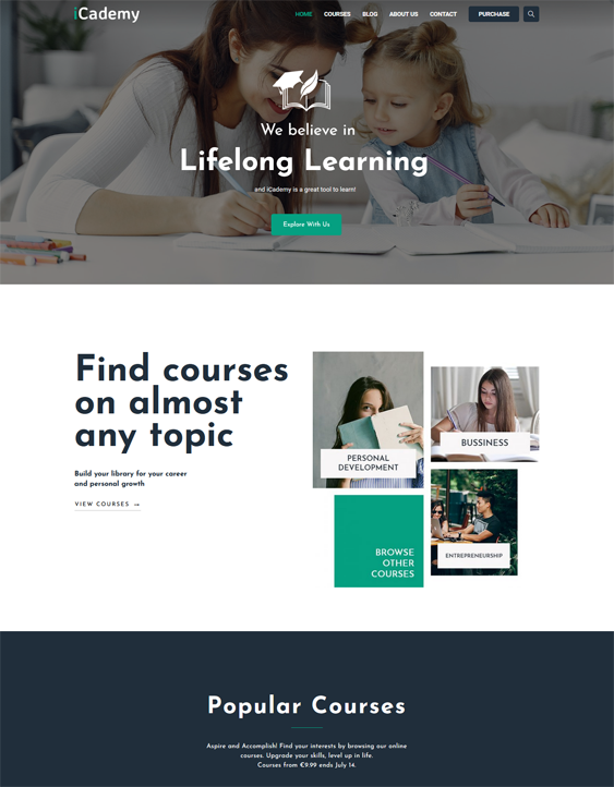 This education WordPress themes feature