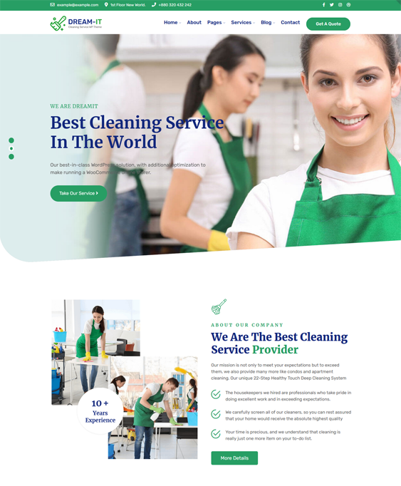 WordPress Themes For Cleaning Companies, Maids, And Cleaners feature