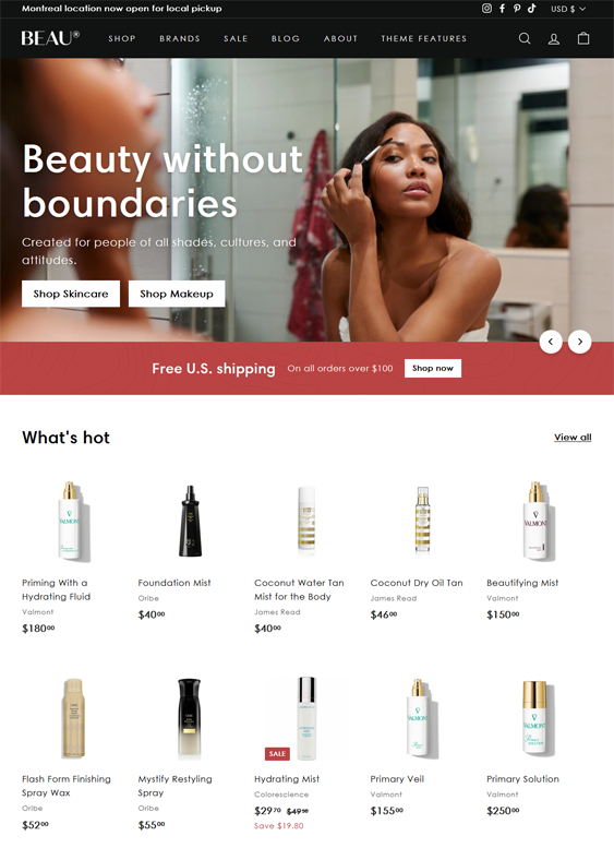 Shopify Themes For Selling Makeup, Cosmetics, Skincare, And Beauty Products feature
