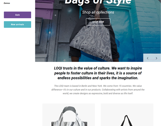 Shopify Themes For Selling Purses, Backpacks, And Handbags feature