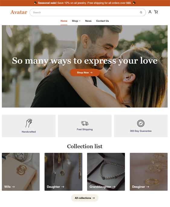 jewelry store shopify themes feature