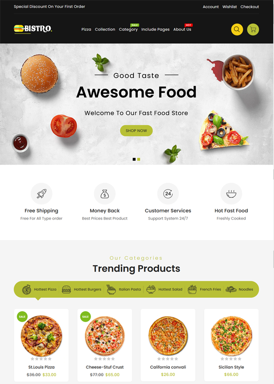 Shopify Themes For Fast Food Restaurants