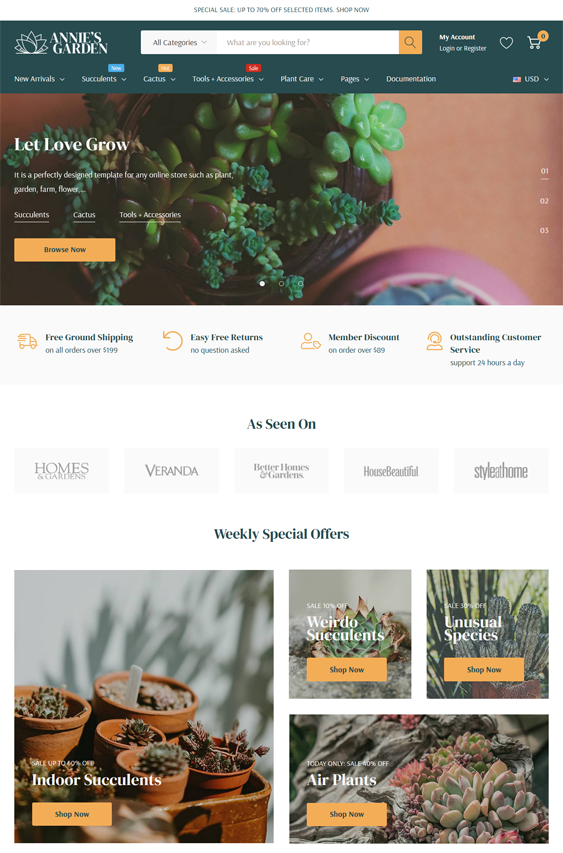 BigCommerce Themes For Selling Plants And Flowers