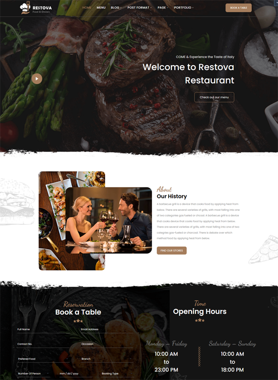 This restaurant WordPress themes feature